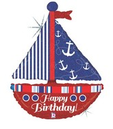 "37"" Holographic Shape Nautical Birthday Sailboat Balloon"