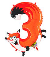 "40"" Number 3 ""Fox"" Jumbo Balloon (Polybag)"