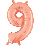 "14"" Airfill with Valve Only Number 9 Rose Gold Balloon"