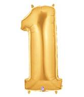 "7"" Airfill (requires heat sealing) Number Balloon 1 Gold"
