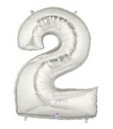 "7"" Airfill (requires heat sealing) Number Balloon 2 Silver"