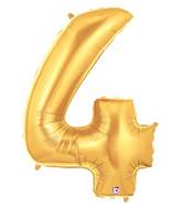 "7"" Airfill (requires heat sealing) Number Balloon 4 Gold"