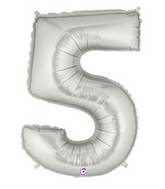 "7"" Airfill (requires heat sealing) Number Balloon 5 Silver"