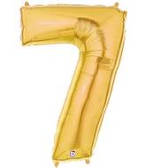 "7"" Airfill (requires heat sealing) Number Balloon 7 Gold"