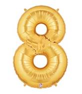 "7"" Airfill (requires heat sealing) Number Balloon 8 Gold"