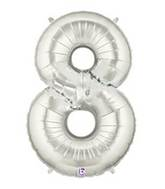 "7"" Airfill (requires heat sealing) Number Balloon 8 Silver"