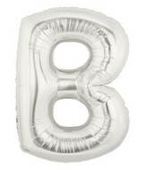"7"" Airfill (requires heat sealing) Letter Balloons B Silver"