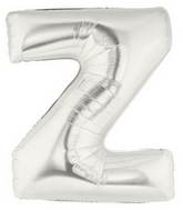 "7"" Airfill (requires heat sealing) Letter Balloons Z Silver"