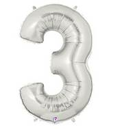 "14"" Airfill (requires heat sealing) Number Balloon 3 Silver"