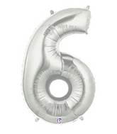 "14"" Airfill (requires heat sealing) Number Balloon 6 Silver"