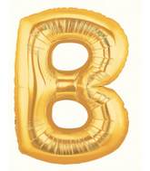 "14"" Airfill (requires heat sealing) Letter B Balloon  Gold"