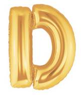 "14"" Airfill (requires heat sealing) Letter Balloon D Gold"