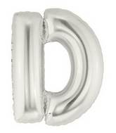 "14"" Airfill (requires heat sealing) Letter Balloon D Silver"