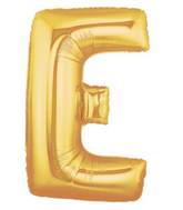 "14"" Airfill (requires heat sealing) Letter Balloon E Gold"