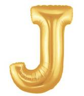 "14"" Airfill (requires heat sealing) Letter Balloon J Gold"