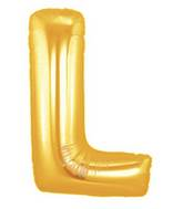"14"" Airfill (requires heat sealing) Letter Balloon L Gold"