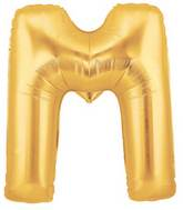 "14"" Airfill (requires heat sealing) Letter Balloon M Gold"