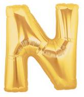"14"" Airfill (requires heat sealing) Letter Balloon N Gold"