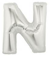 "14"" Airfill (requires heat sealing) Letter Balloon N Silver"