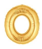 "14"" Airfill (requires heat sealing) Letter Balloon O Gold"