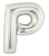 "14"" Airfill (requires heat sealing) Letter Balloon P Silver"