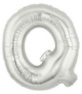 "14"" Airfill (requires heat sealing) Letter Balloon Q Silver"