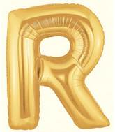 "14"" Airfill (requires heat sealing) Letter Balloon R Gold"