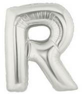 "14"" Airfill (requires heat sealing) Letter Balloon R Silver"