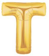"14"" Airfill (requires heat sealing) Letter Balloon T Gold"