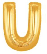 "14"" Airfill (requires heat sealing) Letter Balloon U Gold"