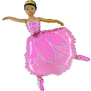 "36"" Ballerina With Pink Dress Balloon"
