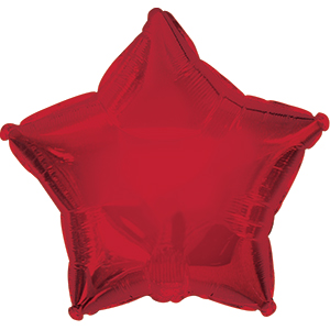 "7"" Dark Red Star Self Sealing Valve Foil Balloon"