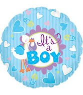 "9"" It&#39s A Boy Stork Self Sealing Valve Foil Balloon"