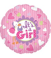 "9"" It&#39s A Girl Stork Self Sealing Valve Foil Balloon"
