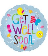 "24"" Get Well Birds and Butterflies Foil Balloon"