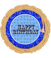 "18"" Blue Bandana Happy Birthday Foil Balloon"