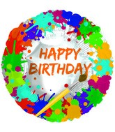 "18"" Art Party Happy Birthday Foil Balloon"