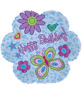 "9"" Birthday Glitz Flower Foil Balloon"