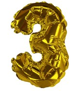 "8"" Gold #3 Shape Self Sealing Valve Foil Balloon"