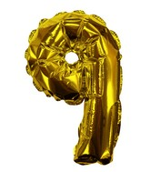"8"" Gold #9 Shape Self Sealing Valve Foil Balloon"