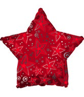 "9"" Red Patterned Star Foil Balloon"