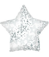 "9"" White Pattern Star Foil Balloon"