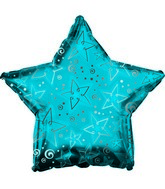 "9"" Blue Patterned Star Foil Balloon"