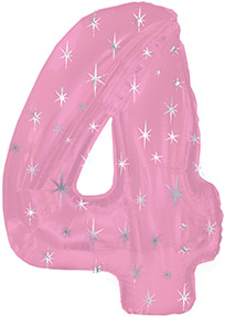 "38"" Pink Sparkle Four Number Balloon"