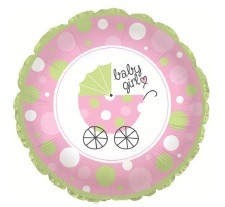 "18"" Baby Girl Buggy Shape Foil Balloon"