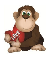 "22"" Brown Love Monkey Foil Balloon/w ribbon attached"