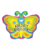 "22"" Happy Birthday Smile Butterfly Foil Balloon"