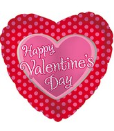 "18"" Happy Valentine's Day Balloon Pink Polka Dots"