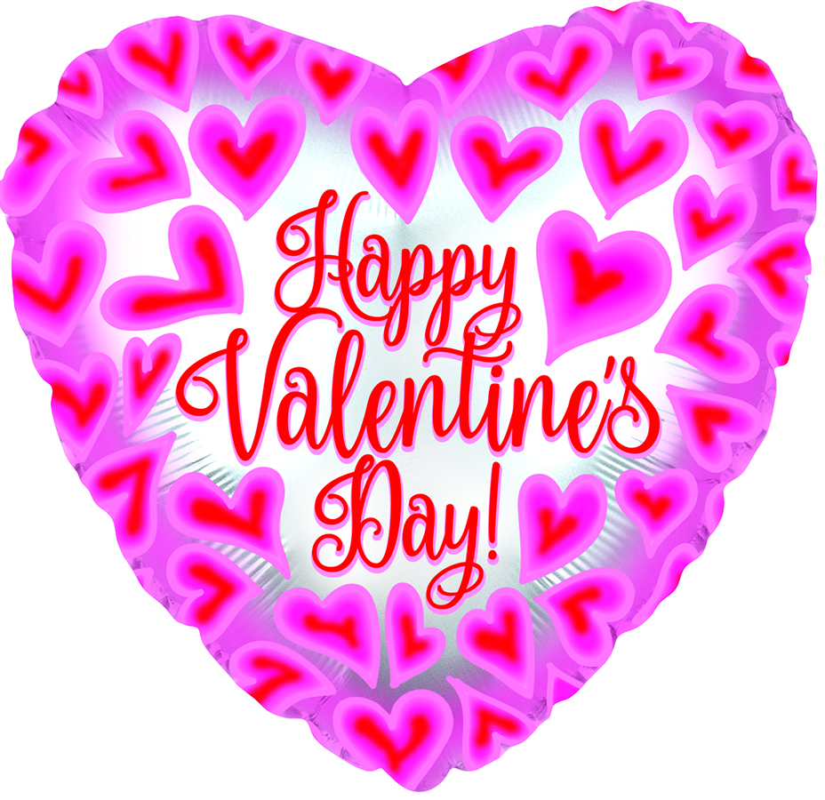 "17"" Happy Valentine&#39s Day Pink/Red Hearts Foil Balloon"