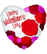 "17"" Happy Valentine&#39s Day Big Roses Foil Balloon"